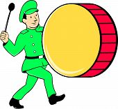 Постер, плакат: Marching Band Drummer Beating Drum