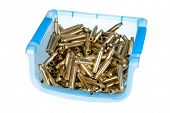 foto of cartridge  - plastic container holding 7mm Magnum ammunition cartridge cases that have been cleaned  - JPG