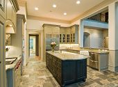 pic of slating  - Expensive kitchen interior with granite counters and slate floor - JPG
