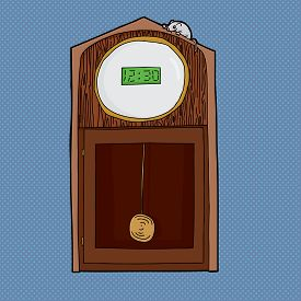 picture of nursery rhyme  - Grandfather clock with digital LCD face and mouse on top - JPG