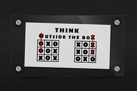 foto of tic  - Tic tac toe and words think outside the box - JPG