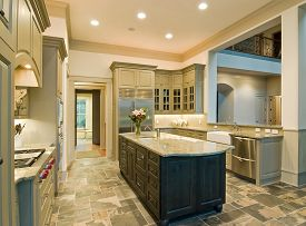 picture of slating  - Expensive kitchen interior with granite counters and slate floor - JPG