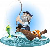 foto of fisherman  - Illustration of a fisherman in a boat with a dog - JPG