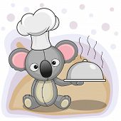 picture of koala  - Cook Koala with a tray in hand - JPG