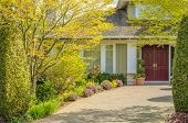 stock photo of brownstone  - A nice entrance of a luxury house over outdoor landscape - JPG