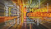 stock photo of prostitutes  - Background concept wordcloud illustration of human trafficking glowing light - JPG