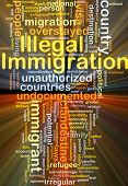 foto of illegal  - Background concept wordcloud illustration of illegal immigration glowing light - JPG