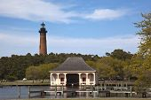 stock photo of outer  - The Currituck Beach Lighthouse is in Corolla on the Outer Banks and is a popular attraction in the area - JPG