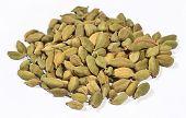 image of cardamom  - Heap of cardamom seeds on a white background - JPG