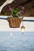 stock photo of hook  - Beautiful hanging basket with artificial flowers hooked on a wooden shelter on the sea shore against a nice blurred sea - JPG