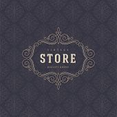 image of boutique  - Logo template with flourishes calligraphic elegant ornament elements - JPG