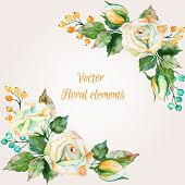 stock photo of floral bouquet  - Set of watercolor floral bouquets for design - JPG