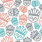 picture of headdress  - Seamless pattern skull in headdress redskin - JPG