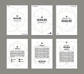 stock photo of placard  - Set of vector poster templates with pattern in thin line style - JPG