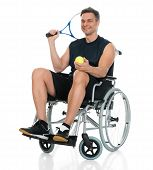 pic of disability  - Smiling Disabled Man On Wheelchair Holding Racket And Ball - JPG