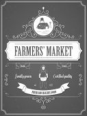 picture of farmer  - Farmers Market Vintage Advertisement Vector Poster - JPG