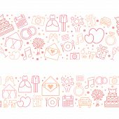 stock photo of wedding  - Seamless vector pattern borders of wedding vector icons - JPG