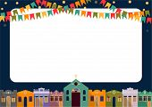 picture of church  - Latin American holiday the June party of Brazil bright night the background with colonial houses church lights and colored flags and place for the recording form - JPG
