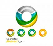 pic of universal sign  - Set of abstract geometric company logo ring - JPG