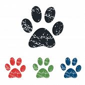 image of paw-print  - Colored grunge icon set with image of animal paw print - JPG
