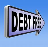 stock photo of debt free  - debt free zone or tax reduction today relief of taxes having good credit financial success paying debts for financial freedom road sign arrow
