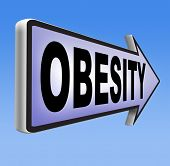 foto of obese  - obesity road sign over weight or obese people suffer eating disorder and can be helped by dieting