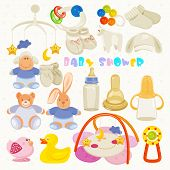 image of neutral  - Vector illustration in Neutral design with cute items for childs - JPG