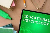 stock photo of psychological  - Tablet with words educational psychology on the table - JPG