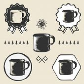 picture of edelweiss  - vintage steel enamel cup outdoor symbol emblem label set - JPG