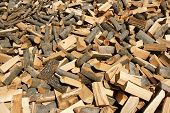 stock photo of firewood  - firewood for the winter in a mountain village in Bulgaria - JPG