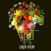 picture of vegetable food fruit  - Organic food concept - JPG