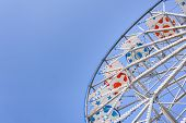 image of ferris-wheel  - Ferris Wheel at the county fair with the sky in the background - JPG