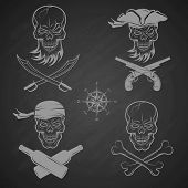 picture of crossed pistols  - Emblems of skulls on the pirate theme - JPG