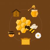 picture of honey-bee  - Flat design vector concept illustration with icons of  products bee - JPG