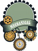 stock photo of watch  - Vector Steampunk mechanical pocket watch elements are interlaced with banners and rotating parts - JPG