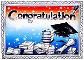 image of congratulation  - Congratulation graduate card pencil sketch design have many books and pen writing Congratulation word - JPG