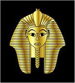 foto of pharaohs  - Egyptian style golden pharaoh portrait vector illustration - JPG