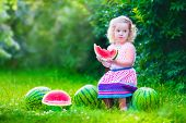 picture of healthy eating girl  - Child eating watermelon in the garden - JPG