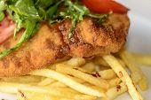 image of pork chop  - Deep fried pork chops with balsamic vinegar and Arugula - JPG