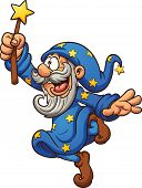 image of wizard  - Cartoon wizard with magic wand - JPG