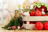 stock photo of crate  - Raw red Tomatoes and dill in crate - JPG