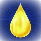 image of drop oil  - Yellow Oil Drop on Blue Wave Background - JPG
