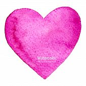 picture of wet  - Vector watercolor splash background with paper texture shaped as a heart symbol of love - JPG