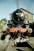 foto of loco  - 75078 Standard Class 4 Steam Loco Outside Haworth Engine Shed Keighley and Worth Valley Railway  - JPG