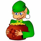 image of hobgoblin  - Funny elf with a pot filled with golden coins - JPG