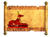 pic of anubis  - Scroll with Egyptian god Anubis image - JPG