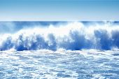 stock photo of sandstorms  - Thunderous Pacific Ocean waves crashing the California shore from the Santa Ana winds  - JPG