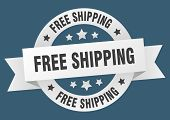 Free Shipping Ribbon. Free Shipping Round White Sign. Free Shipping poster