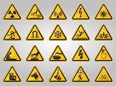 Triangular Warning Hazard Symbols Labels On White Background poster