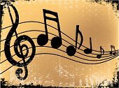stock photo of music note  - Old paper with music notes flowing across it - JPG